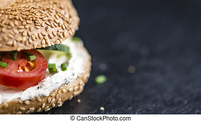 Sesame Bagel with cream cheese - Breakfast sesame Bagel with...