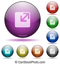 Resize window glass sphere buttons - Set of color resize...