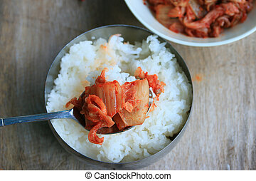 kimchi and steamed rice