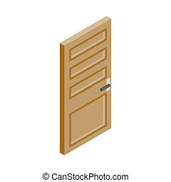 Wooden door icon, isometric 3d style - Wooden door with...