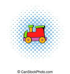 Children locomotive icon, comics style