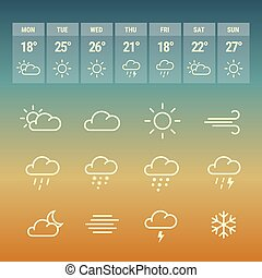 Weather forcast line icons on hot. - Weather forcast line...