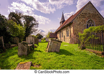 Colour Image of a Church - Color image of an old church with...