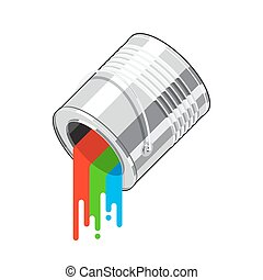 Paint can flow - Rotated metal paint can with multicolored...