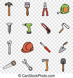 Building set icons in hand drawn style on transparent...