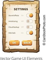 Vector wooden game ui - Game settings screen Options and...