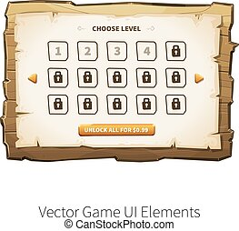 Vector wooden game ui - Choose levels game screen. Vector...