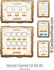 Vector wooden game ui - Vector graphical user interface UI...