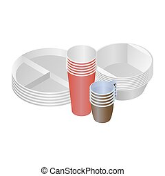 Plastic dishes and plates