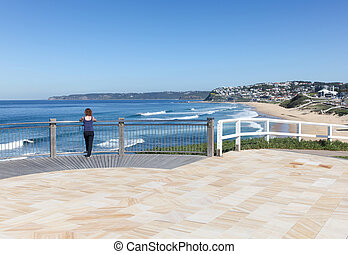 Newcastle Lookout - A women enjoys the view from a lookout...