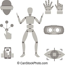 Set of vector icons of devices for virtual reality - vector...
