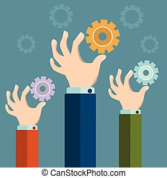 Hands holding gears, Business synergy concept