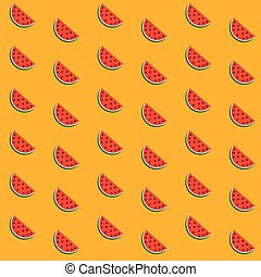 Seamless background with a pattern of juicy ripe pieces of watermelon