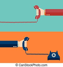Hand holding telephone, urgent call - communication design template