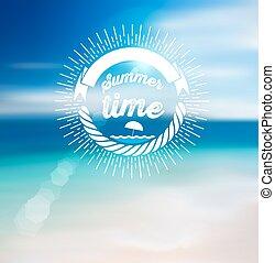 Summer Time Design with Blur Beach Background.