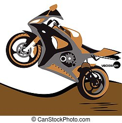 Bike, jumps on the motorcycle and extreme sports. Sportbike....