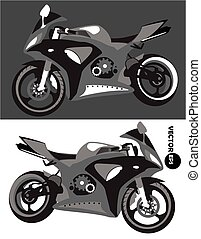 Motorcycle, sports body kit, monochrome vector isolated on...