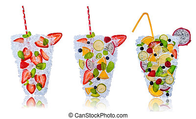 Fruit cocktails with ice cubes on white background
