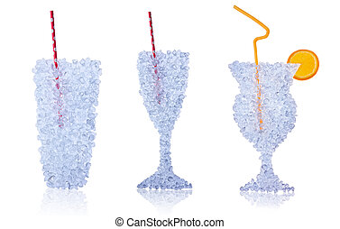 Drinks made of ice drift on white background - Glasses of...