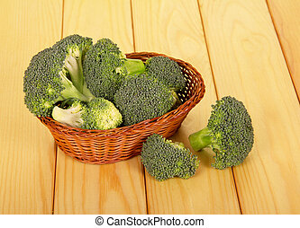 Wicker bowl with fresh broccoli on background of light wood....