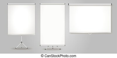 Blank Promotion Stand and roll up banners set Vector...