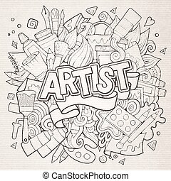 Artist hand lettering and doodles elements emblem Vector...