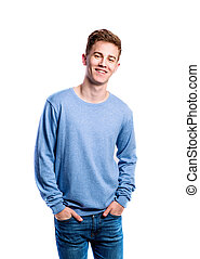 Boy in jeans and sweater, young man, studio shot - Teenage...