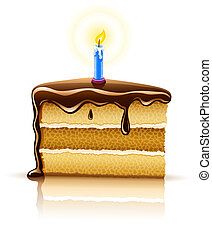piece of birthday chocolate cake with burning candle...