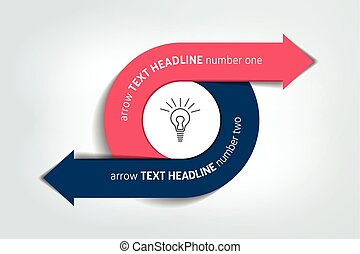 Circle, round divided in two arrows. Template, scheme, diagram, chart, graph, presentation. Business concept with 2 steps, options, processes.