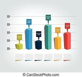3D design graph. Infographics chart.