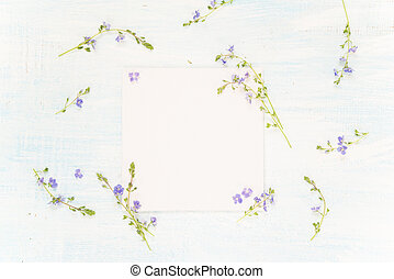 Scrapbooking page with blue flowers - Scrapbooking page of...