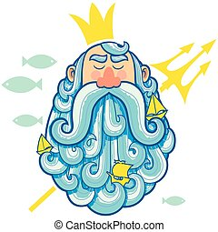 Neptune Portrait - Illustration of sea god Neptune