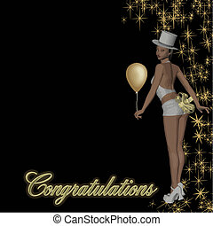 congratulations girl vector - cabaret girl with sparkles and...