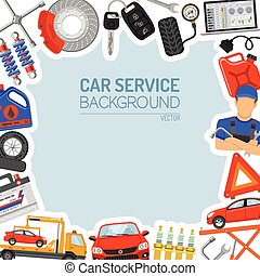Car Service Frame with Flat Icons for Poster, Web Site,...