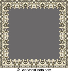 Floral Vector Fine Frame - Classic vector square golden...