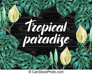 Background with monstera leaves. Decorative image of...