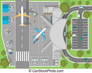 Airport a Top View. Terminal and Aircraft - Airport top...