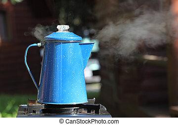 Steaming Vintage Coffee Pot - Steaming, vintage blue enamel...