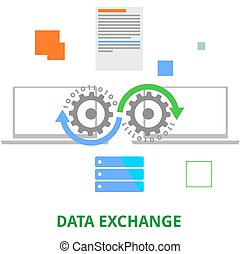 vector - data exchange - An illustration showing a data...