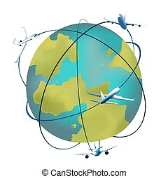 Earth planet with airplanes around. Vector illustration of a...