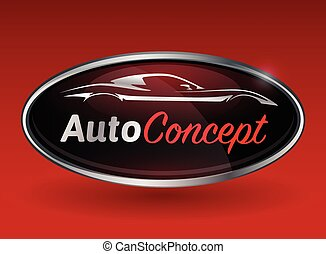 Concept logo with chrome badge of sports car vehicle silhouette