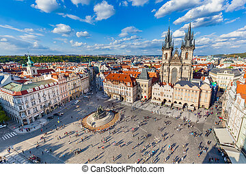 Old Town of Prague, Czech Republic. View on Tyn Church and...