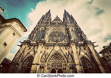 St Vitus Cathedral, Prague, Czech Republic Wide angle...