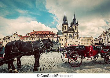 Old Town of Prague, Czech Republic. Horse carriage for...