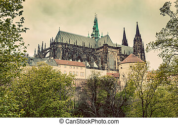 Prague Castle with St. Vitus Cathedral, Hradcany, Czech...