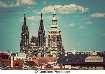 St Vitus Cathedral, Prague, Czech Republic Vintage - St...