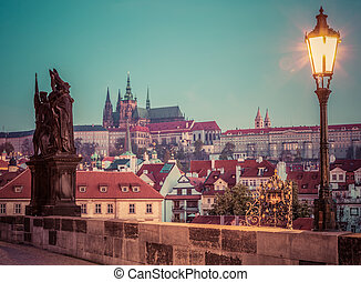 Charles Bridge at sunrise, Prague, Czech Republic View on...