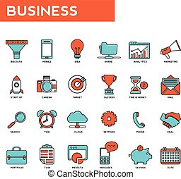 Set of thin lines web icons for business. marketing and...