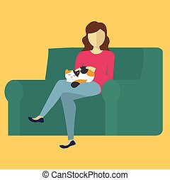 The woman on the couch, petting a cat.  Vector Illustration