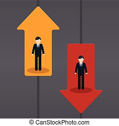 Raise and fall of business indicators. Career lift concept.